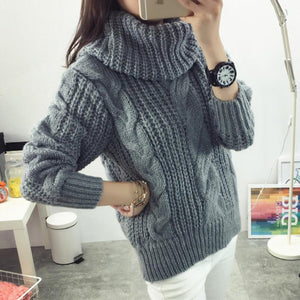 Oversized Twist High Neck Loose Pullovers