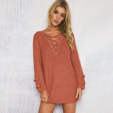 Load image into Gallery viewer, Knitted Lace Up Sweater Dress