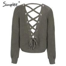 Load image into Gallery viewer, Backless Lace Up Sweater