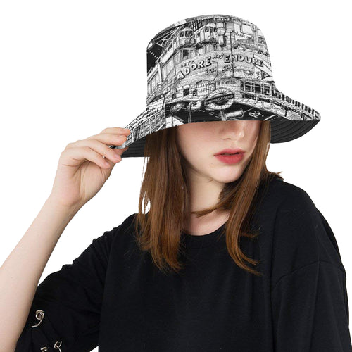 LONDON Black and White Bucket Hat