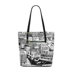 LONDON Black and White Tote Bag