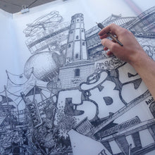 Load image into Gallery viewer, Drawing Berlin on the Street by Heiner Radau. Architecture, Graffiti, Streetart, Urban art, fountain pen and ink and a lot of patience make it possible. creative city, doodle, map, print, artwork.