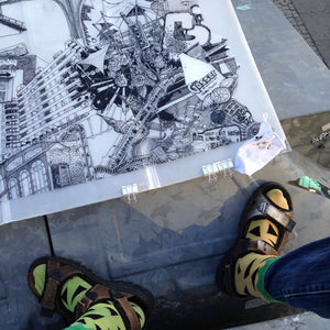 Drawing Berlin on the Street by Heiner Radau. Architecture, Graffiti, Streetart, Urban art, fountain pen and ink and a lot of patience make it possible. creative city, doodle, map, print, artwork, travel and draw, explore, sketch, design, design.