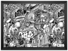 Load image into Gallery viewer, Drawing Berlin on the Street by Heiner Radau. Architecture, Graffiti, Streetart, Urban art, fountain pen and ink and a lot of patience make it possible. creative city, doodle, map, print, artwork