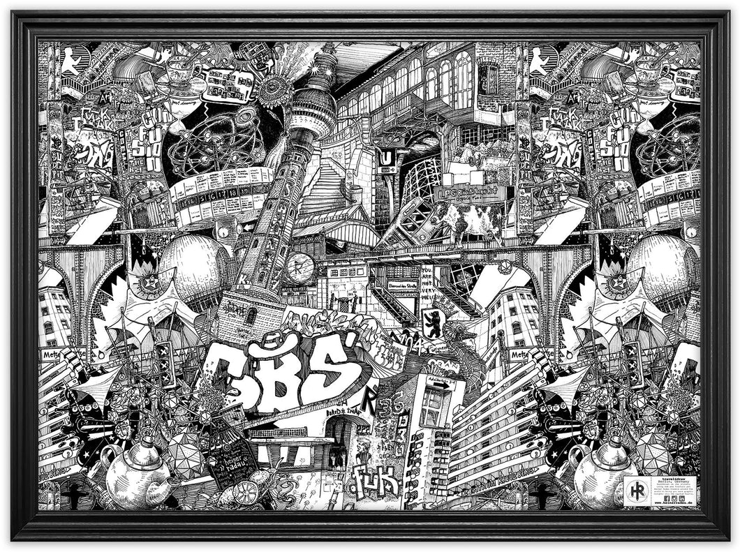 Drawing Berlin on the Street by Heiner Radau. Architecture, Graffiti, Streetart, Urban art, fountain pen and ink and a lot of patience make it possible. creative city, doodle, map, print, artwork