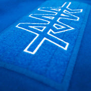 TEAM RAR Blue Velcro Hoodie Front Side Velcro Detail