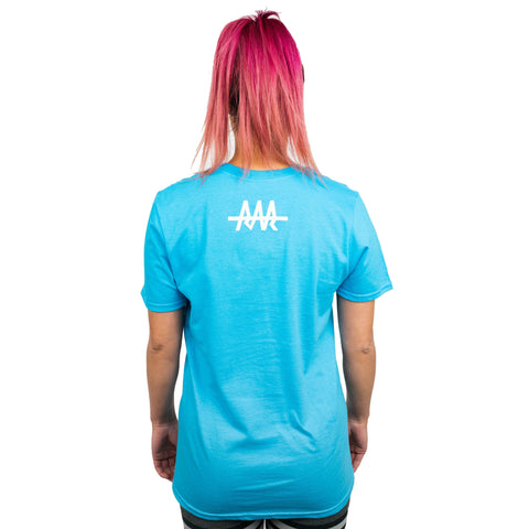 Team RAR Crew Shirt Blue Back Side with Lizzy Capri