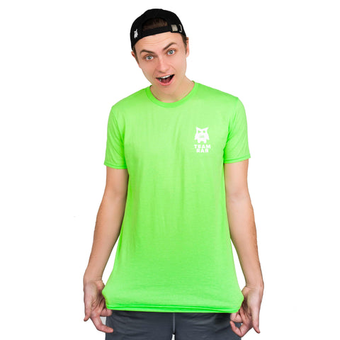 Team RAR Crew Shirt Green Front Side with Carter Sharer