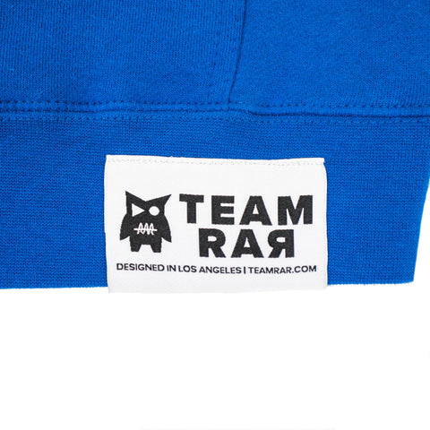 TEAM RAR Blue Velcro Hoodie Front Side Label Detail