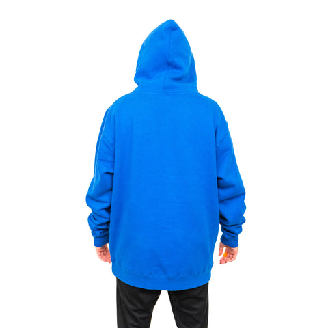 TEAM RAR Blue Velcro Hoodie Back Side Hood up with Stove's Kitchen