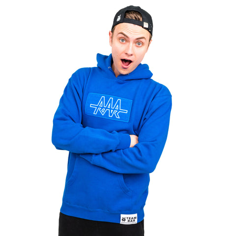 TEAM RAR Blue Velcro Hoodie Front Side with Carter Sharer