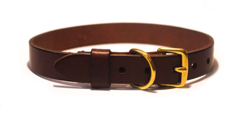 Dark brown Italian leather collar