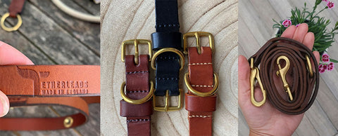 Handmade leather dog leads and collars