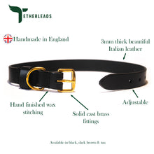 Load image into Gallery viewer, Black Leather Dog Collar