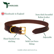 Load image into Gallery viewer, Dark Brown Leather Dog Collar