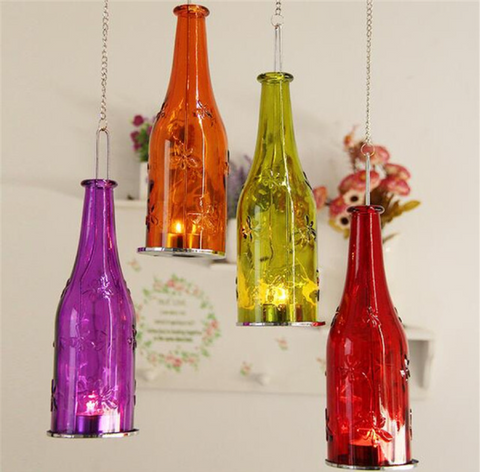 Wine bottle decoration glass painting