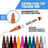 Paint Pens for Rock Painting - Ceramic, Wood, Metal and Glass.  12 Extra Fine Tip Paint Markers