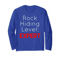 Unisex Rock Hiding Expert Funny Cute Novelty Gift Long Sleeve Shirt Medium Royal Blue