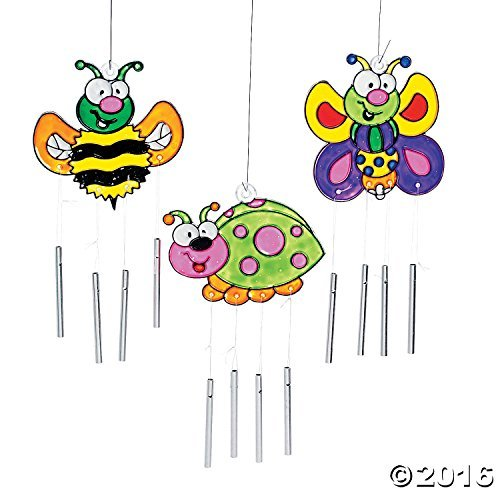 "Plastic Bug Suncatcher with Metal Wind Chimes (Approx. 7"" - 8"", each)"