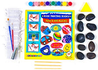Rock Painting Kit for Kids by KRAFTZLAB | All Supplies Included - 10 River Rocks for Painting, Acrylic Paint Set, Bags, Dotting Tools,Glitter and More | Ideal Girls and Boys Toys Age 5 and Over