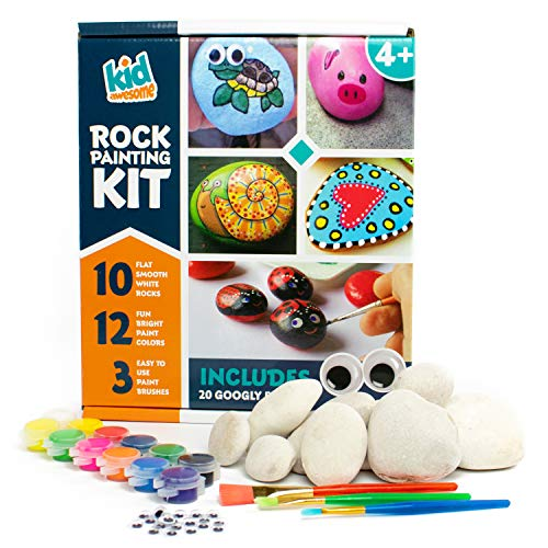 Rock Painting Kit for Kids | Deluxe Craft Set with 10 Smooth Beach Rocks Hand Picked for Rock Art, 12 Kid Friendly Acrylic Paint Colors, 3 Paint Brushes, and Bonus Googly Eye Pack