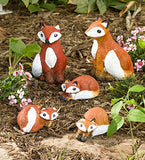 "5 paint-ready foxes: two large (6"") and three small (4"")"