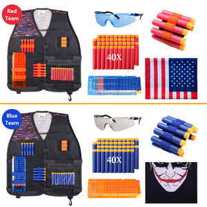 Upgraded 2 Pack Kids Tactical Vest Kit for Nerf War, 2 Set Accessories (Waffle Darts)