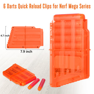 Quick Reload Clips/Magazines for Nerf Guns N-Strike Mega Series, Pack of 4 - Hely Cancy via Amazon