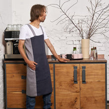 Load image into Gallery viewer, cross-back linen apron KOHV navy blue / steel gray