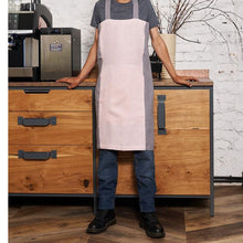 Load image into Gallery viewer, cross-back linen apron KOHV pale pink / steel gray