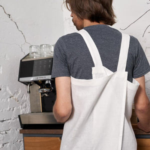 cross-back linen apron KOHV light gray / white