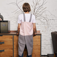 Load image into Gallery viewer, cross-back linen apron SUHKUR pink / steel gray