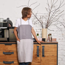 Load image into Gallery viewer, cross-back linen apron SUHKUR steel gray / light gray