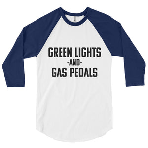 Unisex Green Lights and Gas Pedals Baseball T-Shirt - Barn Find Apparel