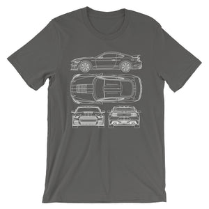 Unisex Shelby G.T.500 Blueprint T-Shirt - Barn Find Apparel