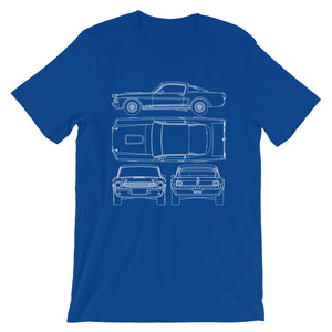 Unisex Shelby G.T.350R Blueprint T-Shirt - Barn Find Apparel