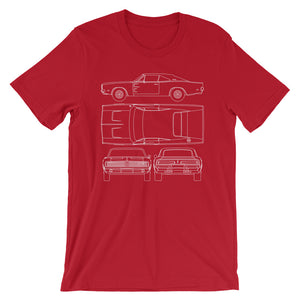 Unisex Dodge Charger Blueprint T-Shirt - Barn Find Apparel