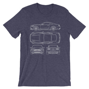 Unisex Ford Mustang GT Blueprint T-Shirt - Barn Find Apparel