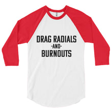 Load image into Gallery viewer, Unisex Drag Radials and Burnouts Baseball T-Shirt - Barn Find Apparel