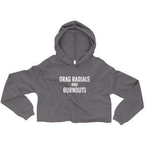 Women's Drag Radials and Burnouts Crop Hoodie - Barn Find Apparel