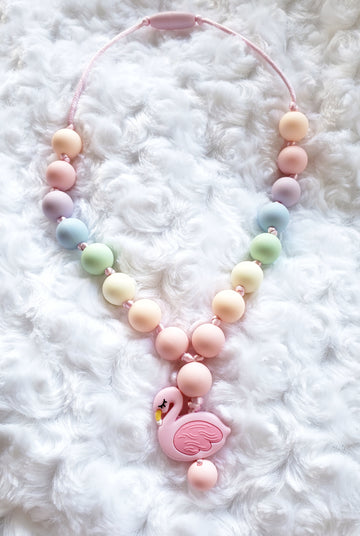 Girls Rainbow Flamingo Necklace