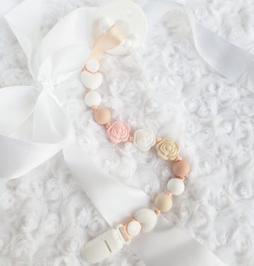 The Soft Rose Bouquet Pacifier Clip
