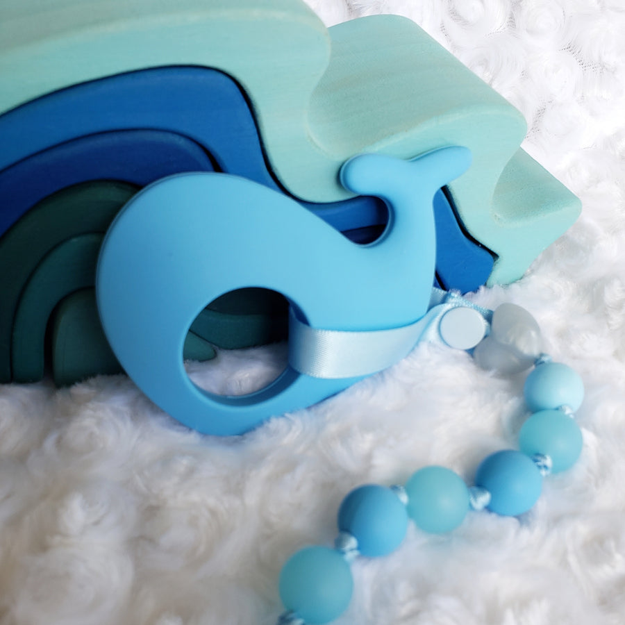 Blue Whale Teether & Teething Clip