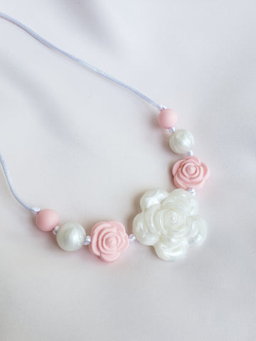 Girls Pearly Pink Rose Necklace