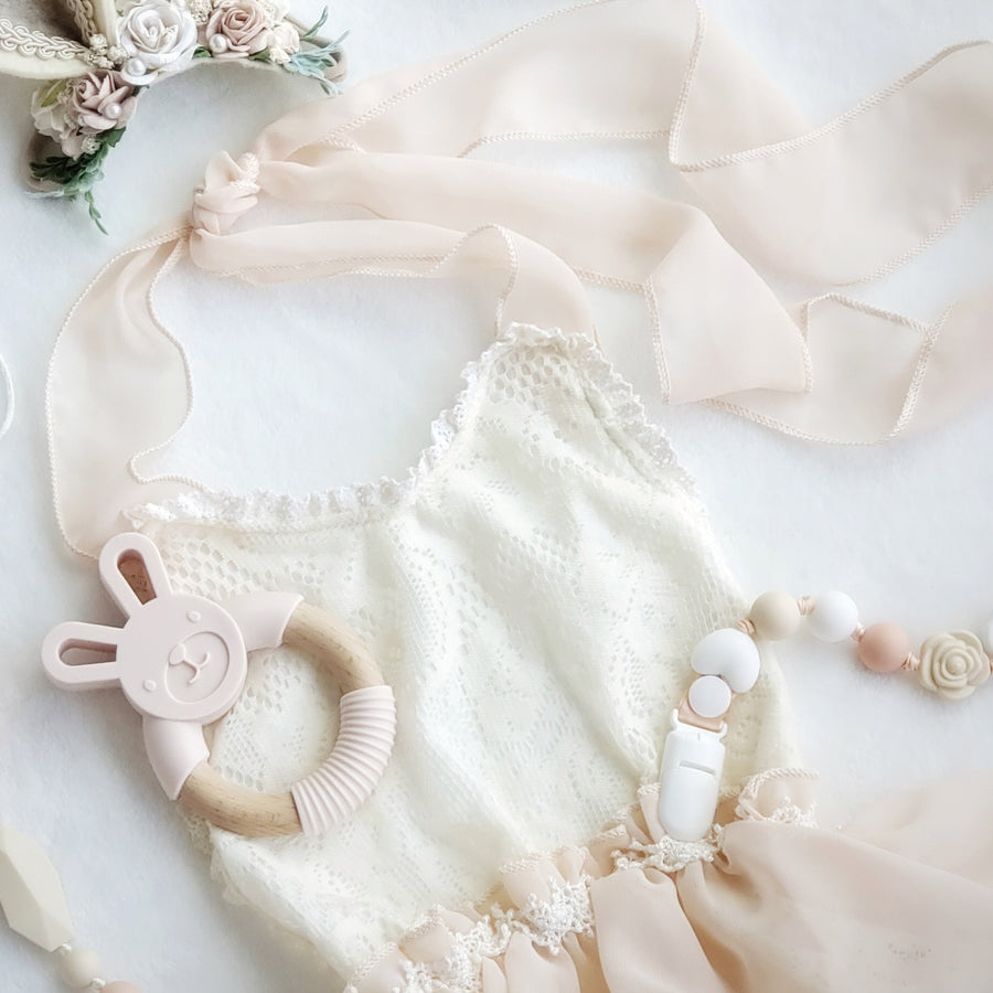 Emily Lace Leotard in Ivory & Blush