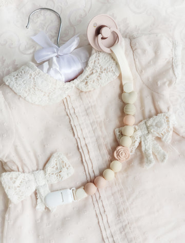 The Rose Aurora Pacifier Clip - Peaches & Cream