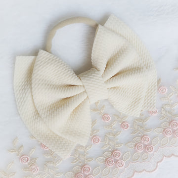 Double Layer Ivory Cream Bow Headband
