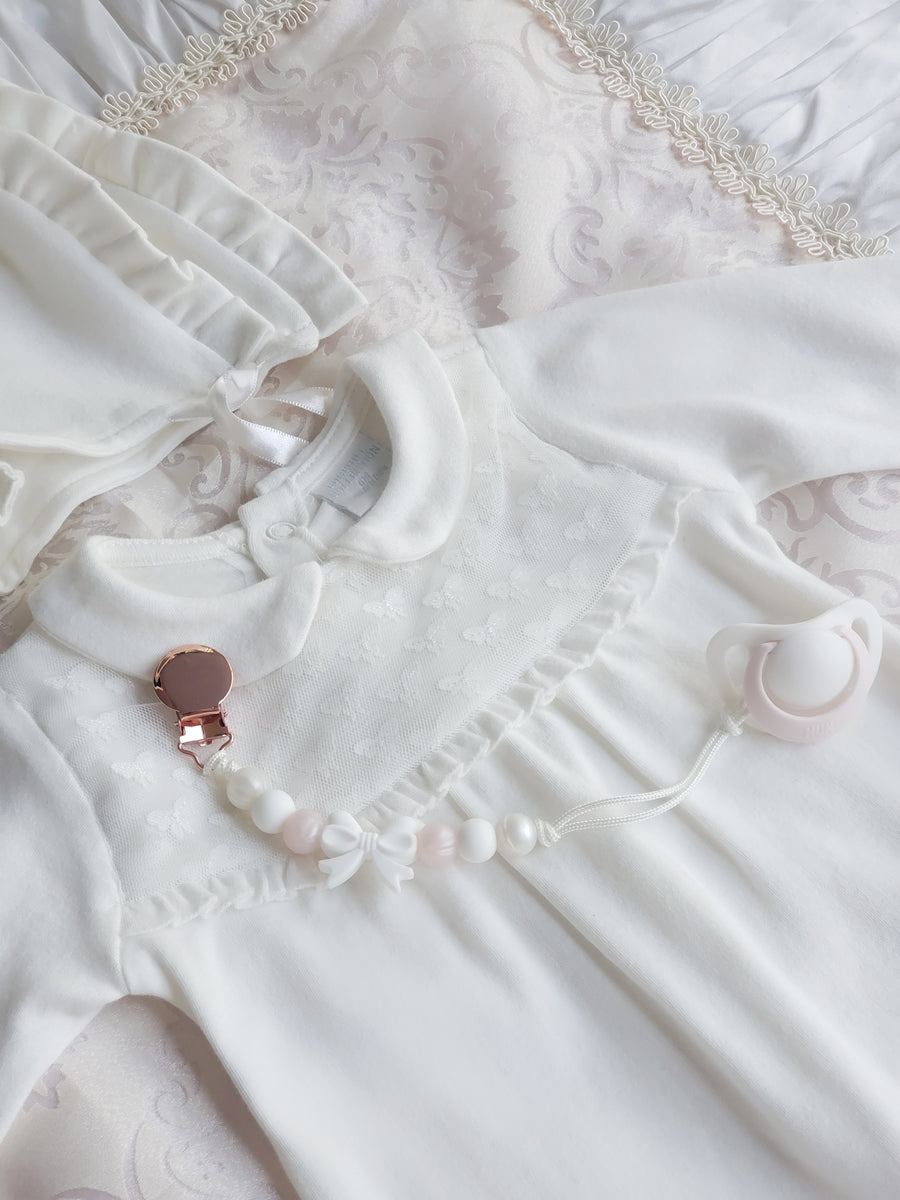 Softest Cotton & Lace Baby Sleep Suit & Bonnet Set