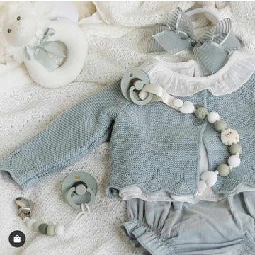The Soft Powder Green Cotton Three Piece Baby Outfit