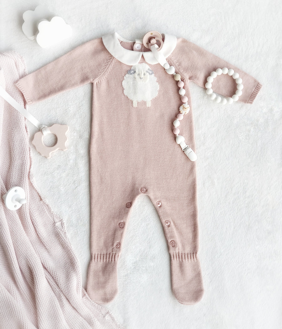 My Little Lamb Knitted Cotton Sleep Suit in Soft Dusty Rose